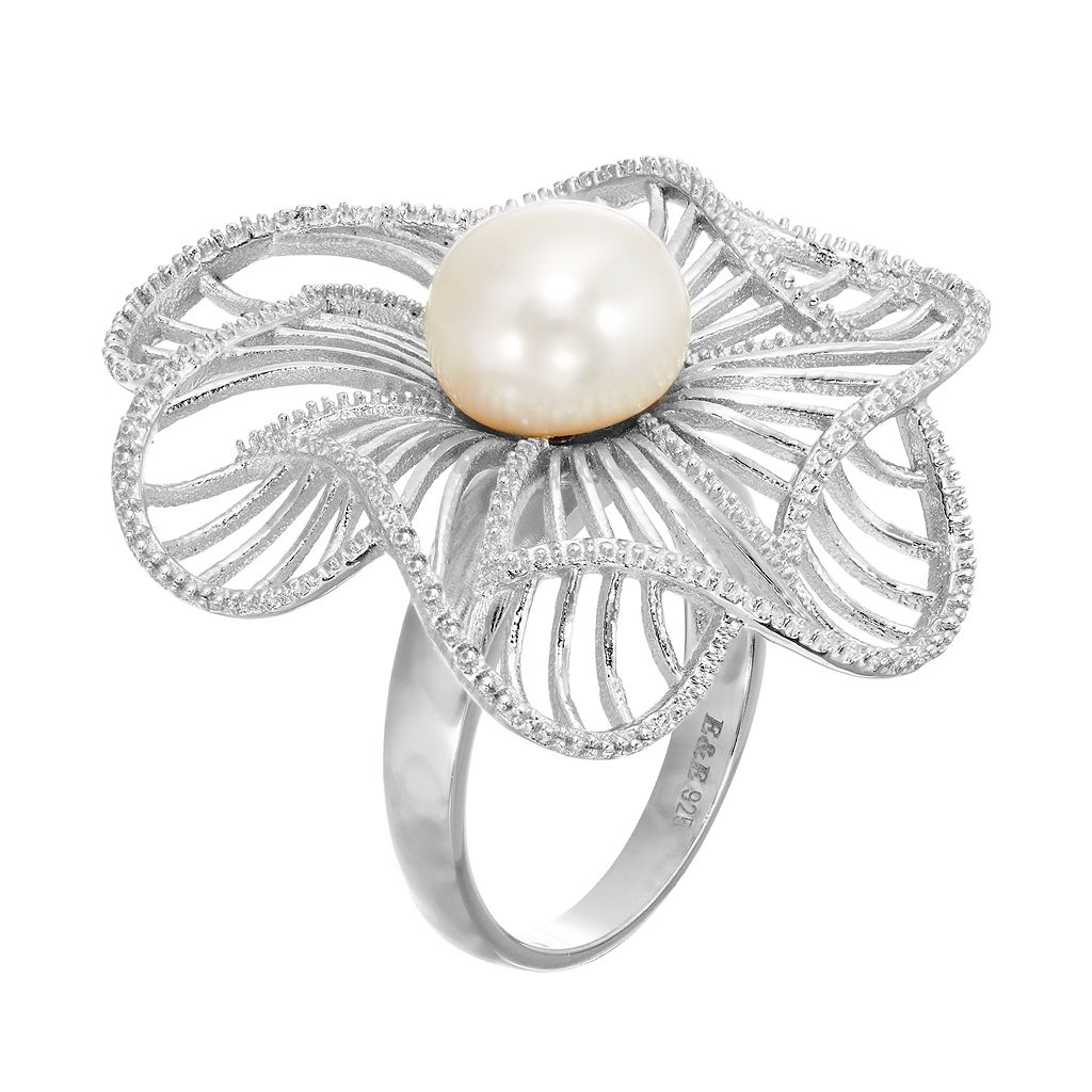 Freshwater Cultured Pearl Sterling Silver Flower Ring