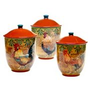 Certified International Rustic Rooster 3 pc Canister Set