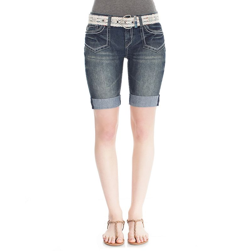 Wallflower Acid Wash Bermuda Jean Shorts - Juniors