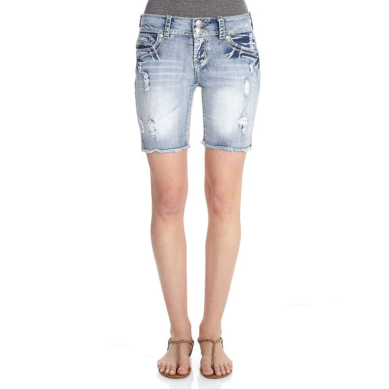 Wallflower Curvy Cutoff Juniors' Bermuda Jean Shorts