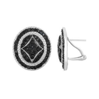2 1/3 Carat T.W. Black Diamond Sterling Silver Button Stud Earrings