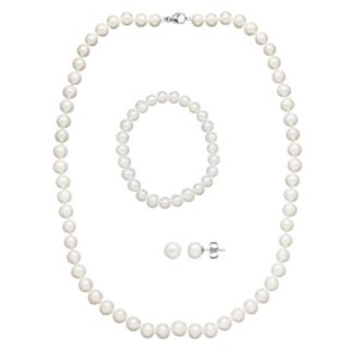 Freshwater by HONORA Freshwater Cultured Pearl Necklace, Stretch Bracelet and Stud Earring Set