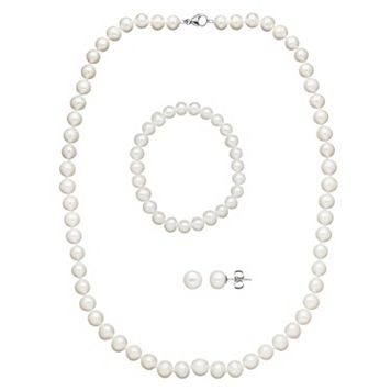 Freshwater by HONORA Freshwater Cultured Pearl Necklace, Stretch Bracelet & Stud Earring Set