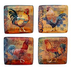 Certified International Rustic Rooster 4 pc Canape Plate Set