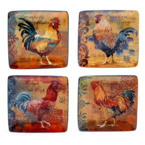 Certified International Rustic Rooster 4-pc. Canape Plate Set