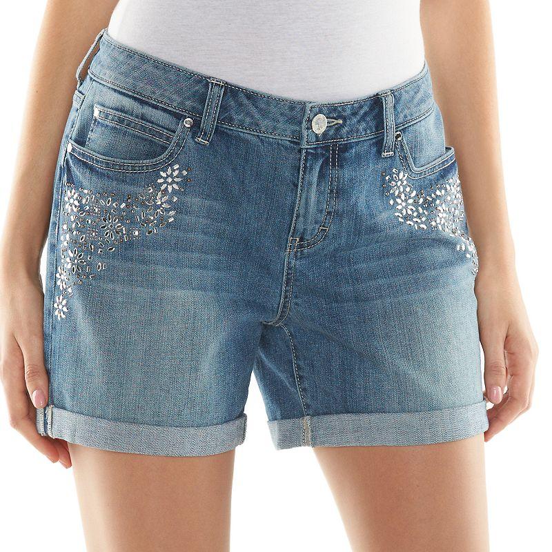 Jennifer Lopez Embellished Cuffed Boyfriend Shorts - Women's