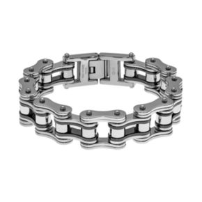 LYNX Two Tone Ion-Plated Stainless Steel Motorcycle Chain Bracelet - Men