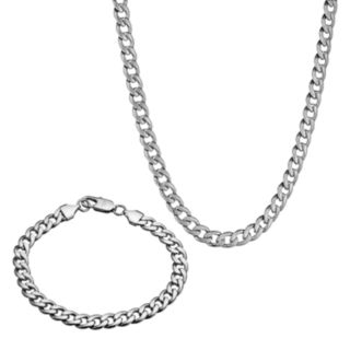 LYNX Stainless Steel Curb Chain Necklace & Bracelet Set - Men