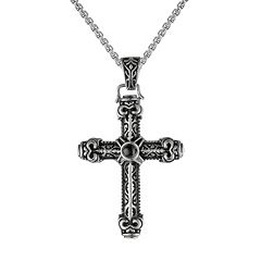 LYNX Agate Stainless Steel Textured Cross Pendant Necklace - Men