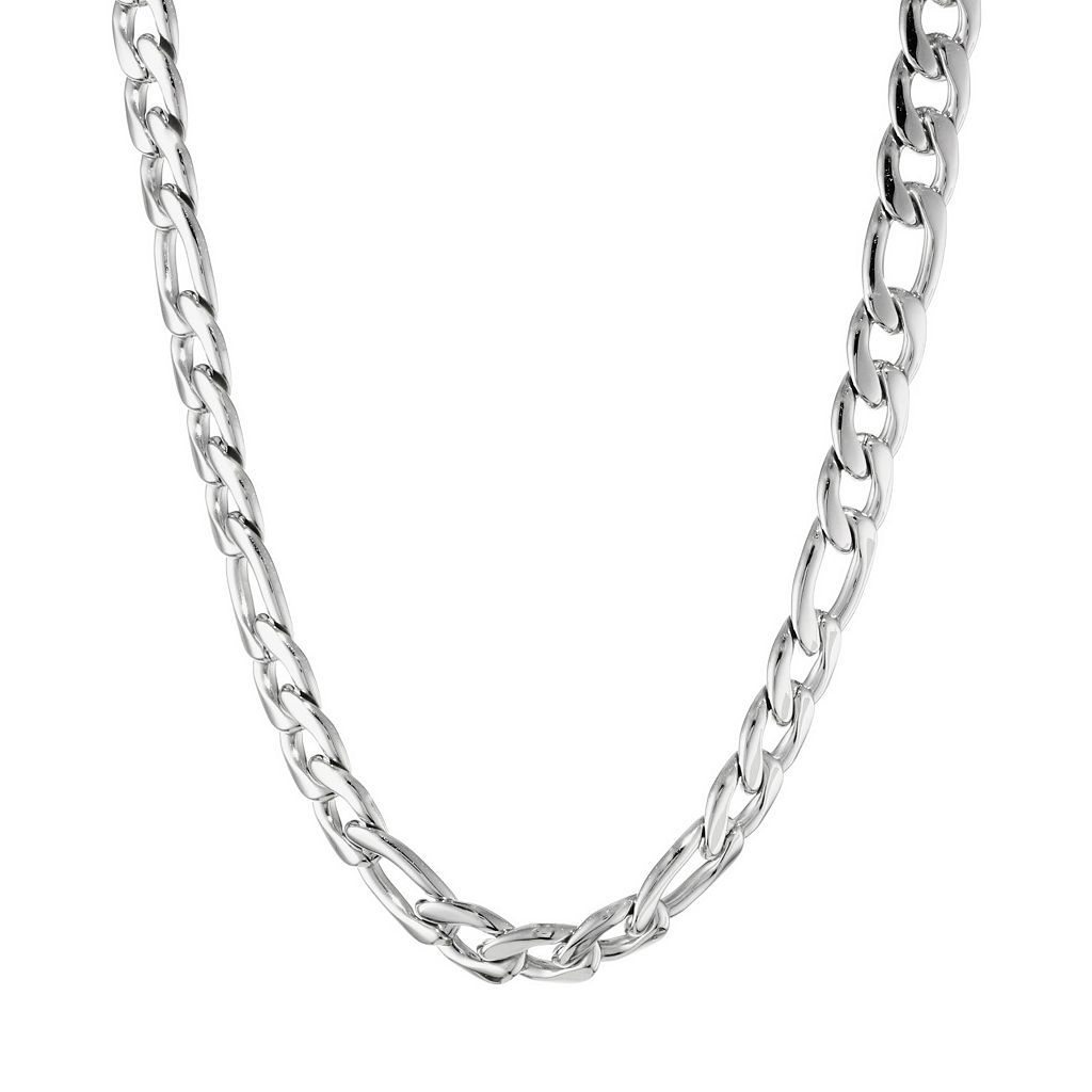 LYNX Stainless Steel Figaro Chain Necklace & Bracelet Set - Men