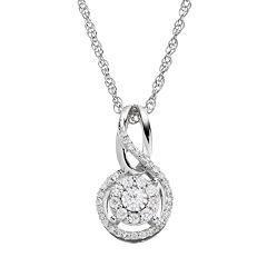 1/5 Carat T.W. Diamond Sterling Silver Infinity Pendant Necklace