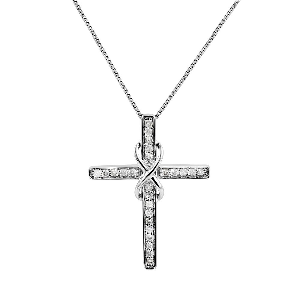 14 carat tw diamond sterling silver infinity cross pendant necklace aloadofball Images
