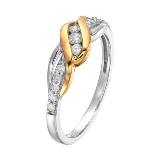 1/4 Carat T.W. Diamond 14k Gold Over Silver & Sterling Silver Swirl Ring