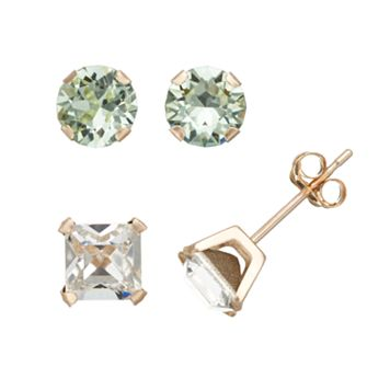 Gold 'N' Ice Crystal 10k Gold Stud Earring Set - Made with Swarovski Crystals