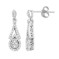 Simply Vera Vera Wang 3/8 Carat T.W. Diamond Sterling Silver Halo Teardrop Earrings