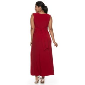 Juniors' Plus Size Wrapper Knot Maxi Dress