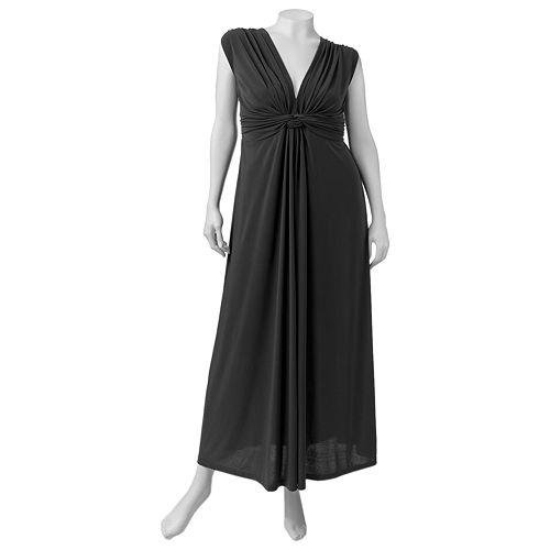 Juniors' Plus Size Wrapper Knot Maxi Dress