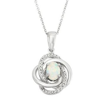 Lab-Created Opal & Diamond Accent Sterling Silver Love Knot Pendant Necklace