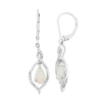 Lab-Created Opal & Diamond Accent Sterling Silver Marquise Drop Earrings