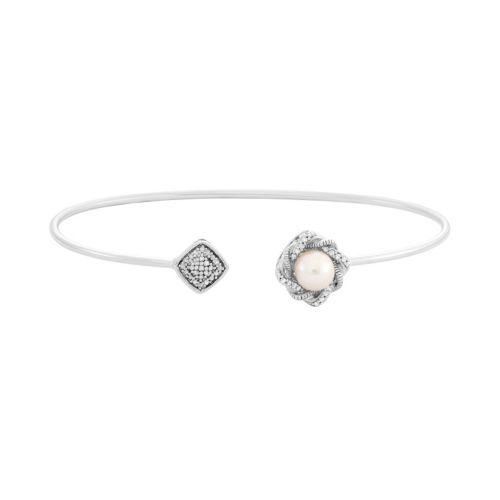Simply Vera Vera Wang 1/10 Carat T.W. Diamond & Freshwater Cultured Pearl Sterling Silver Rhombu...