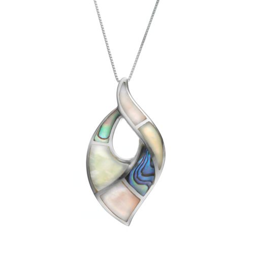Abalone & Mother-of-Pearl Sterling Silver Marquise Pendant Necklace