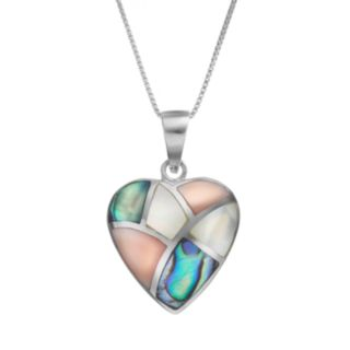 Abalone & Mother-of-Pearl Sterling Silver Heart Pendant Necklace
