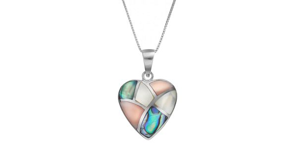 Abalone Amp Mother Of Pearl Sterling Silver Heart Pendant