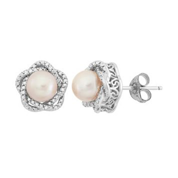 Simply Vera Vera Wang Dyed Freshwater Cultured Pearl and Diamond Accent Sterling Silver Stud Earrings