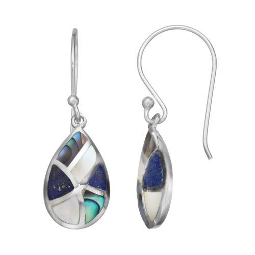 Lapis Lazuli, Mother-of-Pearl & Abalone Sterling Silver Teardrop Earrings