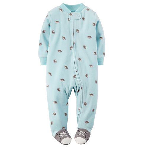 9 Months, Blue//Giraffe Carters Little Boys Football Micro-Fleece Sleeper