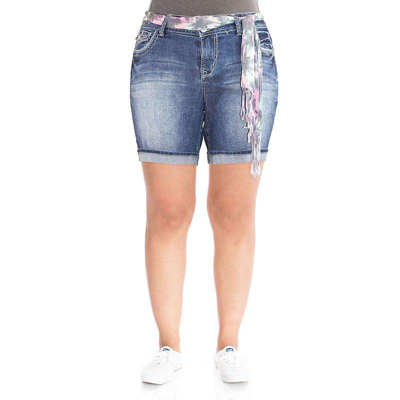 Wallflower Cuffed Bermuda Jean Shorts - Juniors' Plus