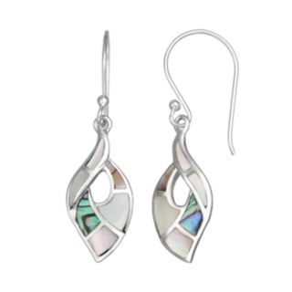 Abalone & Mother-of-Pearl Sterling Silver Marquise Drop Earrings