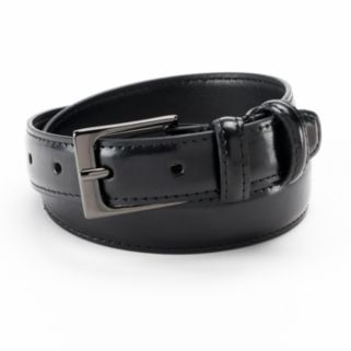 IZOD Stitched Black Leather Belt - Boys