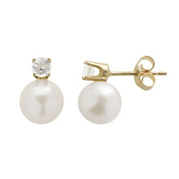 PearLustre by Imperial Freshwater Cultured Pearl & White Topaz 10k Gold Stud Earrings