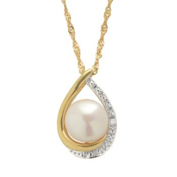 PearLustre by Imperial Freshwater Cultured Pearl and Diamond Accent 14k Gold Over Silver Teardrop Pendant Necklace