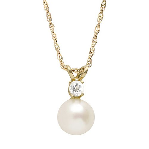 PearLustre by Imperial Freshwater Cultured Pearl & White Topaz 10k Gold Pendant Necklace