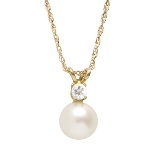 PearLustre by Imperial Freshwater Cultured Pearl and White Topaz 10k Gold Pendant Necklace