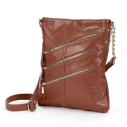 R&R Leather Triple-Zip Leather Crossbody Bag