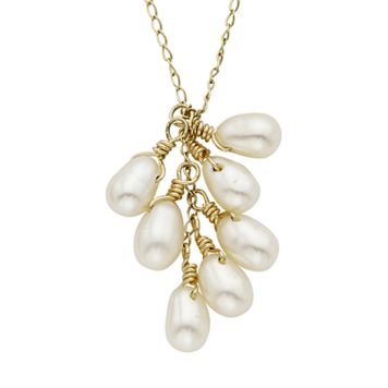 Freshwater Cultured Pearl 14k Gold Cluster Pendant Necklace
