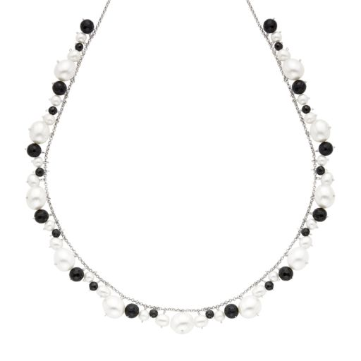 Freshwater Cultured Pearl & Spinel 14k White Gold Necklace
