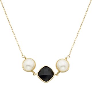 Freshwater Cultured Pearl & Onyx 14k Gold Necklace