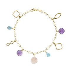 Gemstone 14k Gold Charm Bracelet
