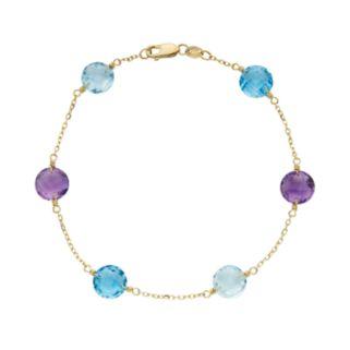 Gemstone 14k Gold Station Bracelet