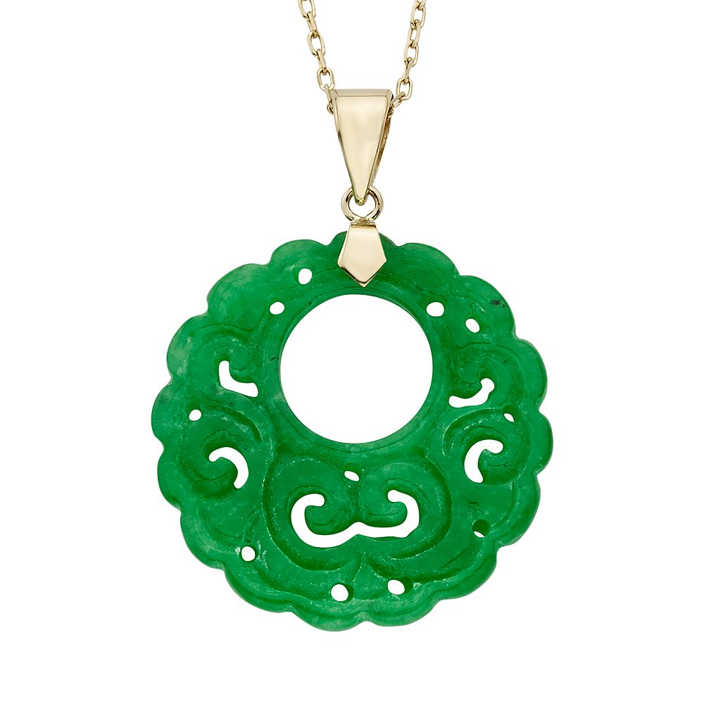 Jade 14k gold openwork disc pendant necklace aloadofball Image collections