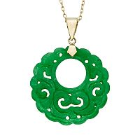 Jade 14k Gold Openwork Disc Pendant Necklace