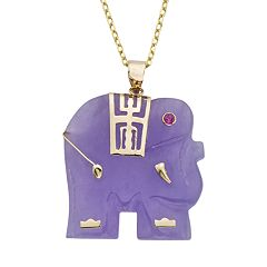 Lavender Jade & Lab-Created Ruby 14k Gold Elephant Pendant Necklace