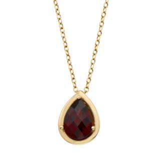 Garnet 14k Gold Teardrop Pendant Necklace