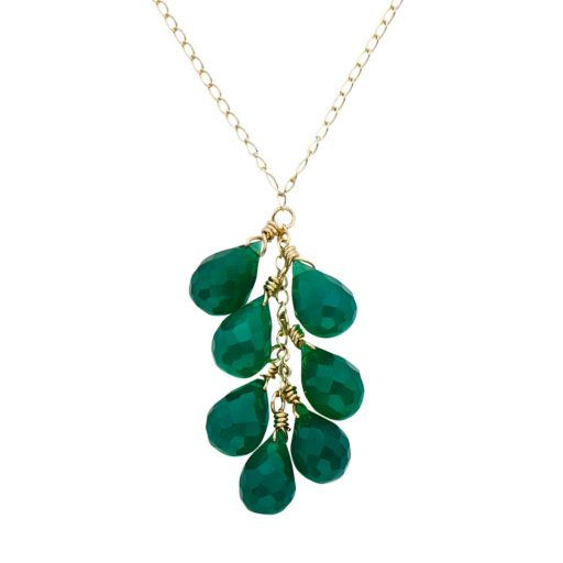 Green Onyx 14k Gold Cluster Pendant Necklace
