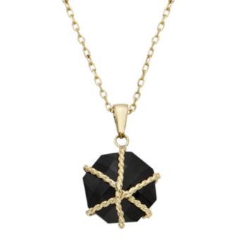 Onyx 14k Gold Pendant Necklace