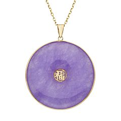 Lavender Jade 14k Gold Disc Pendant Necklace